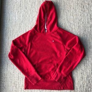 American Eagle red fleece hooded sweatshirt